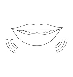 Speaking mouth icon in outline style isolated on vector image