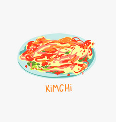 Spicy kimchi cabbage - traditional vector
