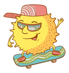 Sun character on the skate vector