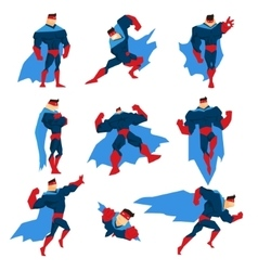 Superhero with blue cape in different comics vector