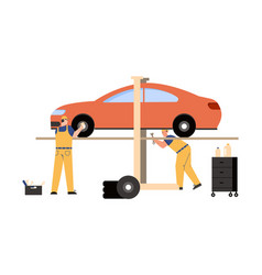 technicians team working in car service and repair vector image