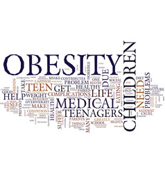 Teen youth obesity text background word cloud vector