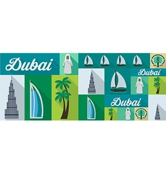 travel and tourism icons Dubai vector image