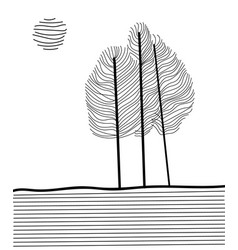 Trees in minimalism from delicate lines vector