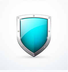 Turquoise shield icon vector