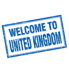 United kingdom blue square grunge welcome vector