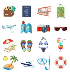 Vacation and Tourism Flat Icons Set vector