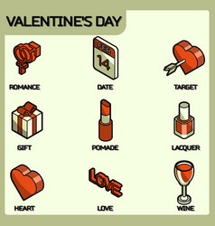 valentines day color outline isometric icons vector image
