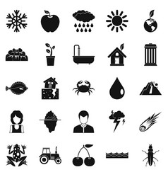 Variety of species icons set simple style vector