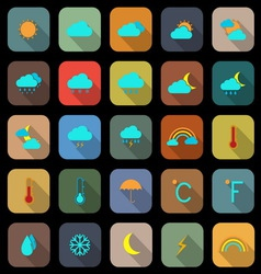 Weather flat color icons with long shadow vector