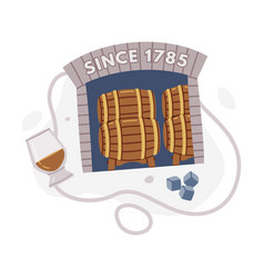 Whiskey drink in glass and storing in wooden vector