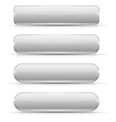White glass buttons rectangle and oval web icons vector