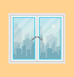 window and city view morning city skyline vector image