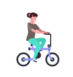 Woman riding electric bike over white background vector