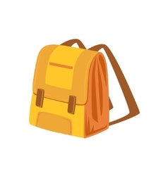 Yellow And Beige School Backpack Item From Baggage vector image