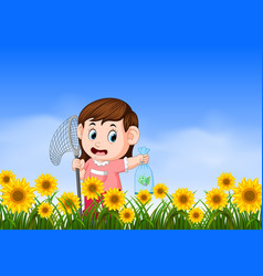 Young girl catching butterflyin the jungle vector