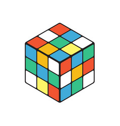 colored cube in isometry isolated on a white vector image