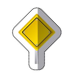 Sticker yellow diamond shape traffic sign with vector