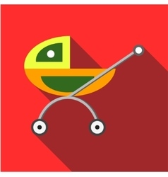 Children s toy pram on a red background vector image vector image