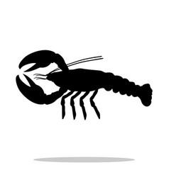 crayfish black silhouette aquatic animal vector image