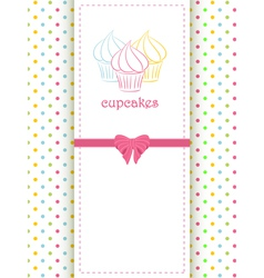 cupcake polka dot background and panel vector image vector image