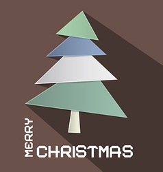 Retro Brown Merry Christmas with Paper Cut T vector image