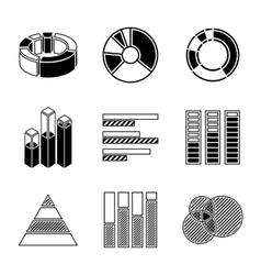 Set of monochrome infographic elements - pie vector image vector image
