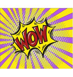 wow comic text art cartoon design style retro vector image vector image