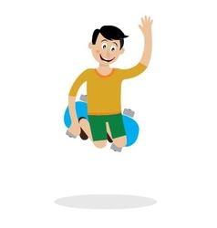 a boy on a skateboard doing a trick vector image