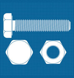 bolt screw icon white outline drawing on vector image