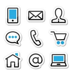 Contact web stroke icons set vector image vector image