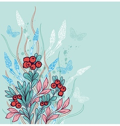 Green decorative floral background with berries vector image vector image