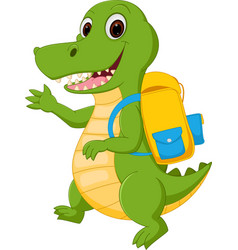 happy crocodile cartoon going to school vector image vector image