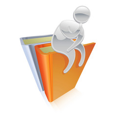 metallic character sitting on books thinking vector image vector image