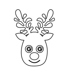 silhouette cute face reindeer animal vector image vector image
