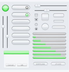 white blank buttons with green tags web interface vector image