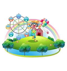 A clown with a flower in an island with a carnival vector image