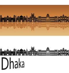 Dhaka skyline in orange vector image vector image