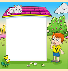 frame design with boy and his cat vector image