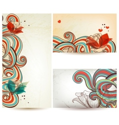 Vintage floral banners vector image vector image