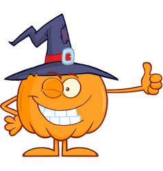 winking witch pumpkin cartoon character vector image vector image