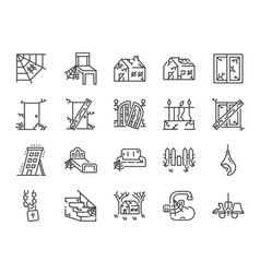 Abandoned house line icon set vector