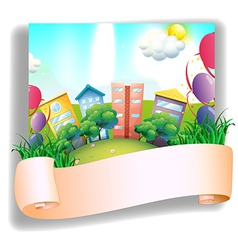 An empty banner in front of a city vector image