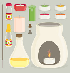 Aromatherapy equipment icons set flat design vector