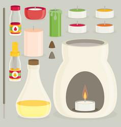 Aromatherapy equipment icons set flat design vector