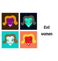 Assembly flat icons on theme evil women vector