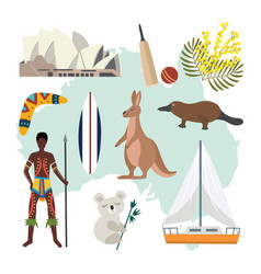 Australia map with national symbols and culture vector