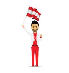 austria flag waving man vector image