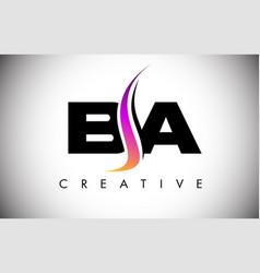 Ba letter logo design with creative shoosh vector