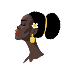 beautiful african girl with flower vector image